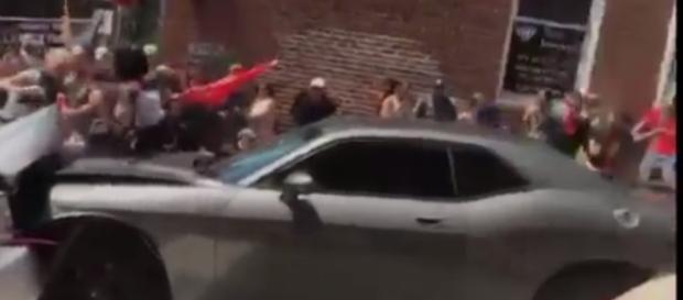 The gray Dodge Challenger that plowed into a counter-protest crowd in Charlottesville last Saturday. / from 'YouTube' screen grab