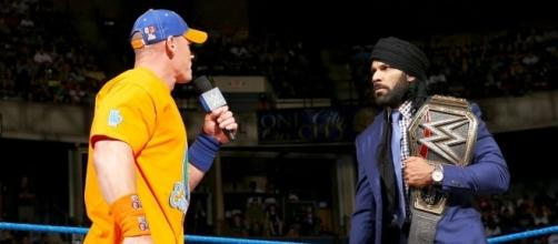 John Cena goes one-on-one with Jinder Mahal on Tuesday night's WWE 'SmackDown Live.' [Image via WWE/YouTube]