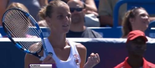 Karolina Pliskova celebrating 2016 Cincinnati win over Angelique Kerber/ Photo: screenshot via WTA channel on YouTube