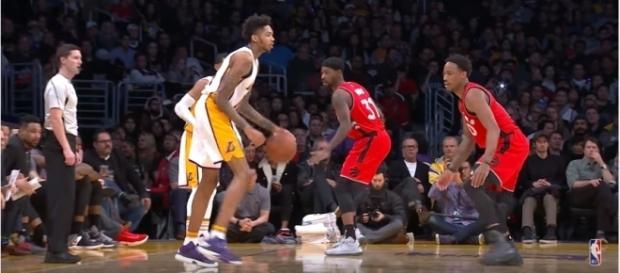 Brandon Ingram dribbles the ball against the Toronto Raptors. Photo YouTube Screenshot NBA