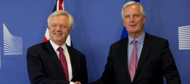 David Davis and Michel Barnier shake hands as Brexit talks finally ... - thesun.co.uk