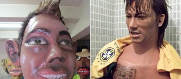 Fãs do jogador Neymar não aprovaram bonecos feitos em homenagem ao craque