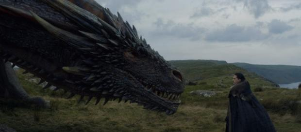 Jon Snow shows an ability to tame dragons in 'Game of Thrones'' episode 'Eastwatch.' source: Ice & Fire Reviews/youtube