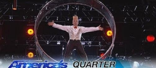 "Daring performer, Bello Nock, brought his Wheel of Death to impress ""America's Got Talent"" judges in the Season 12 quarterfinals Screencap AGT/YT"
