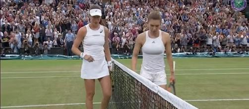 Konta and Halep at 2017 Wimbledon/ Photo: screenshot via Wimbledon official channel on YouTube
