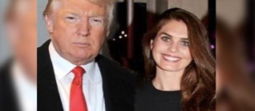 Trump with new White House Communications Director Hope Hicks. Image credit - Washington Weekly/YouTube.