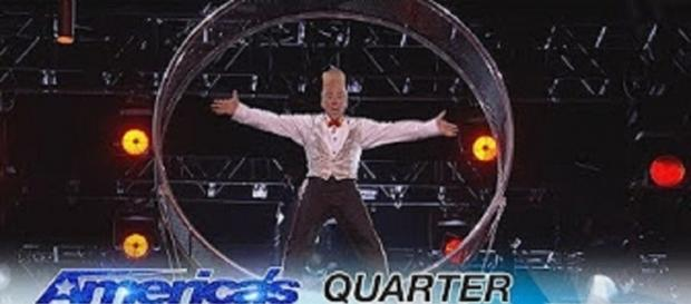 """Daring performer, Bello Nock, brought his Wheel of Death to impress """"America's Got Talent"""" judges in the Season 12 quarterfinals Screencap AGT/YT"""