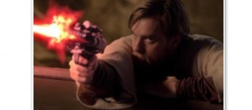 Obi-Wan Kenobi fires upon General Grievous in 'Attack of the Clones' via Wookiepedia, a fair use site