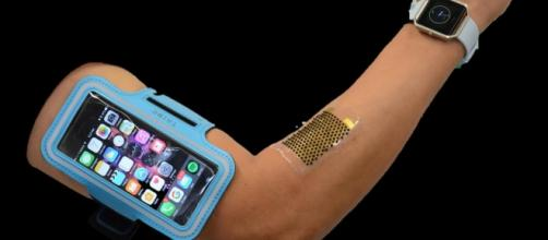 The flexible biofuel cells can power wearable electronics.- University of California San Diego Youtube screen grab