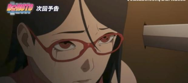 Sarada is hurt by what her father has done. [Image via Dark Aces/YouTube]