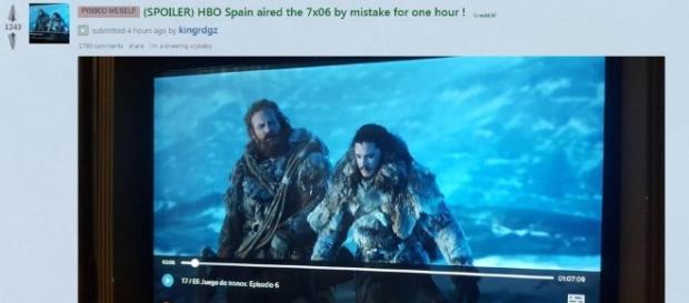 Imagen tomada por un usuario de HBO España visualizando el capítulo seis de Juego de Tronos. (vía Reddit - kingrdzg)