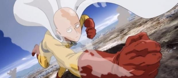 Saitama in his Hero suit the first season of One Punch Man Credits to: Youtube/Peak Animation
