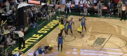 After Crystal Langhorne's big game winner against Minnesota, Seattle now hosts San Antonio on Friday night. [Image via WNBA/YouTube]