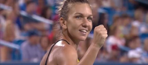 Simona Halep celebrating her win over Konta in Cincinnati/ Photo: screenshot via WTA official channel on YouTube