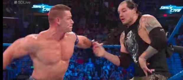 John Cena and Baron Corbin go one-on-one at Sunday's 'SummerSlam 2017' PPV. [Image via WWE/YouTube]