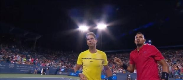 Nadal and Kyrgios in Cincinnati. [Image via YouTube/ATPWorld Tour]
