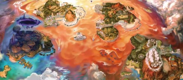Pokemon Ultra Sun and Ultra Moon's official map. Credits to Youtube/The Official Pokemon Youtube Channel