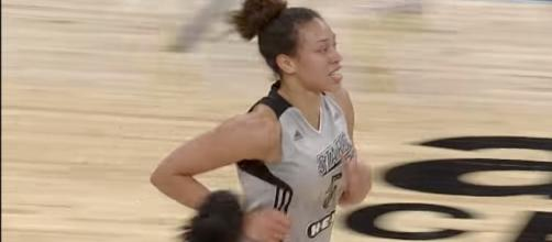 Kayla McBride scored a career-high 31 points to lead the San Antonio Stars to victory on Tuesday night. [Image by WNBA/YouTube]
