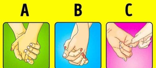 O modo como segura a mão de seu parceiro revela segredos.