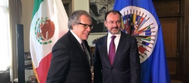Luis Almagro secretario general de la OEA y Luis Videgaray canciller de México, intervienen en la política interior de Venezuela (foto televisa)