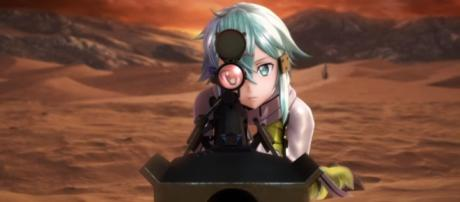 "Bandai Namco Entertainment unveiled a ""SAO"" game sequel called 'Sword Art Online: Fatal Bullet.' [Image via YouTube/Bandai Namco Entertainment]"