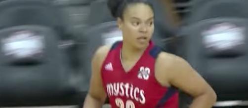 Kristi Toliver and the Mystics visit the Indiana Fever at 5 p.m. ET on Sunday. [Image via WNBA/YouTube]