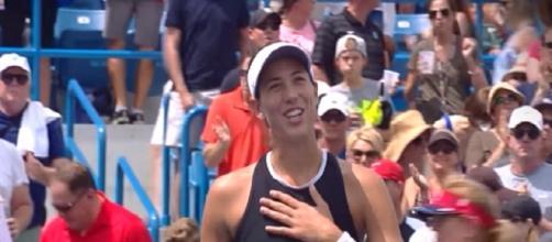 Muguruza celebrating her win over Ka. Pliskova at 2017 Cincinnati/ Photo: screenshot via WTA official channel on YouTube