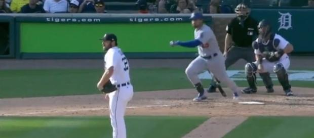 Adrian Gonzalez's RBI single in the seventh was the first score of the game in the Dodgers' 3-0 win over the Tigers. [Image via MLB/YouTube]