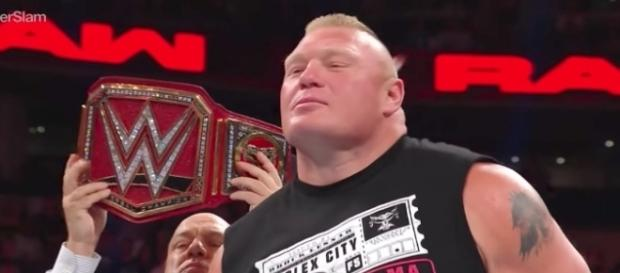 Brock Lesnar puts his WWE Universal Championship on the line in a Fatal 4-Way at Sunday's 'SummerSlam' PPV. [Image via WWE/YouTube]