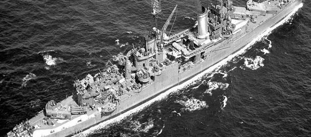 The torpedoed USS Indianapolis in 1949 / Photo via Wikimedia Commons