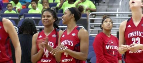 The Washington Mystics picked up a win over the Fever on Sunday to clinch a WNBA playoff spot. [Image via WNBA/YouTube]
