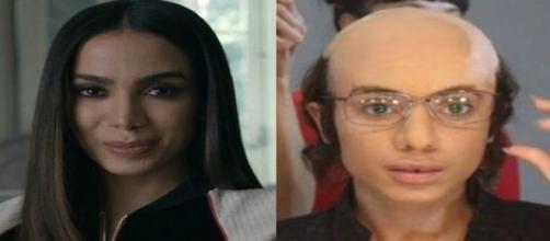 Anitta ficou careca, usou lentes de contato e próteses na testa e no nariz para campanha.