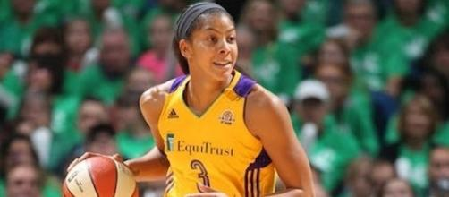 Candace Parker and the L.A. Sparks host the San Antonio Stars on Tuesday at 10:30 p.m. Eastern Time. [Image via WNBA/YouTube]