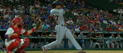 Giancarlo Stanton hit his 46th home run of the season in the Marlins' 12-8 win over the Phillies on Tuesday. [Image via MLB/YouTUbe]