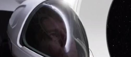 The first official image of the SpaceX spacesuit. (UrBrain Wash TV/YouTube screenshot)