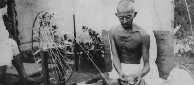 Gandhi spinning (Public domain wikimedia commons)