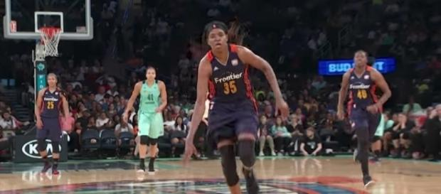 Jonquel Jones and the Connecticut Sun host the Dallas Wings on Wednesday night. [Image via WNBA/YouTube]