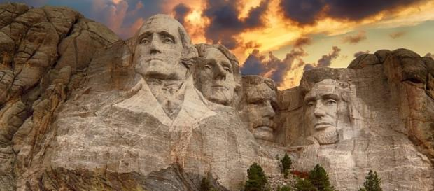 Storm clouds gather over monuments