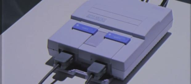 The Nintendo SNES Classic Mini, with controllers attached. / from 'YouTube' screen grab