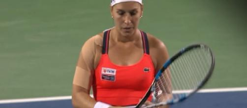 Cibulkova during 2017 New Haven Premier event in Connecticut/ Photo: screenshot via WTA channel on YouTube