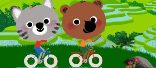 Mouk y su amigo Chavapa, muestra las peripecias de dos corredores de mundos con sus propias bicicletas.