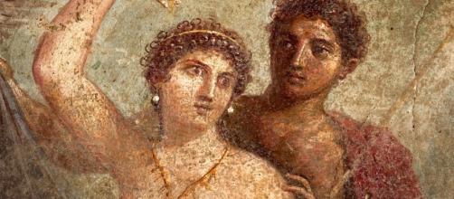 Venus y Marte en un fresco de Pompeya hoy en el Museo Arqueológico Nacional de Nápoles