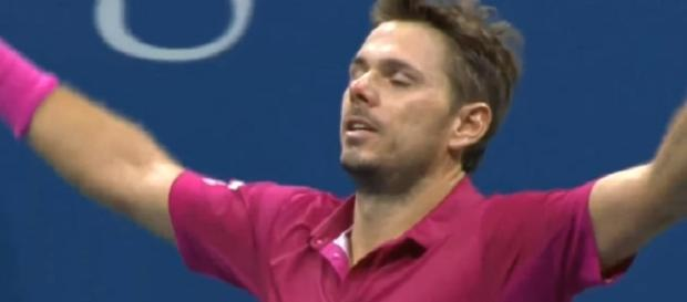 Wawrinka celebrating his 2016 US Open win over Djokovic/ Photo: screenshot via GrandSlam Highlights III channel on YouTube