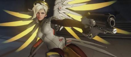 'Overwatch' hero Mercy has become a literally battle angel. (image source: YouTube/Konshu)