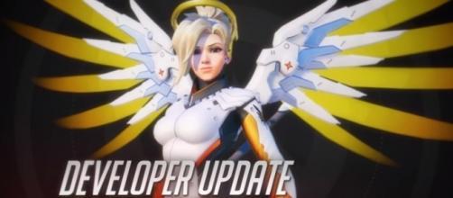"""Overwatch's healer hero Mercy. - YouTube/PlayOverwatch"