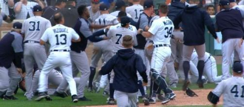 The Tigers and Yankees had three bench-clearing brawls in their game on Thursday. [Image via MLB/YouTube]