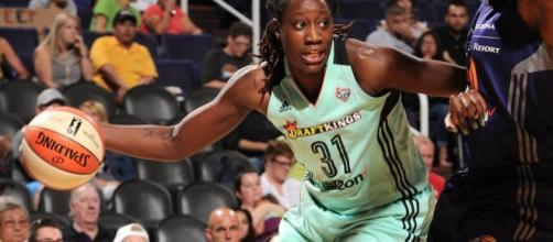 Tina Charles and the Liberty host the Washington Mystics on Friday at 7:30 p.m. Eastern Time. [Image via WNBA/YouTube]