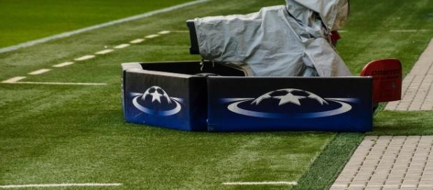 A video camera on a football pitch during a UEFA champions league match. [Image via YouTube/UEFA]