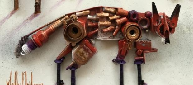 Sally Neilson made this fox sculpture out of found objects. / Photo via Sally Neilson, used with permission.