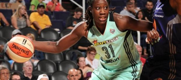 Tina Charles and the Liberty host the Washington Mystics on Friday at 7:30 p.m. Eastern Time. [Image via WNBA/YouTube]